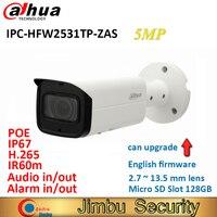 Оригинал Dahua ip пуля Камера IPC HFW2531TP ZAS 5MP lens2.7 13,5 мм моторизованный H.265 IR60m POE Micro SD слот для карт 128 ГБ