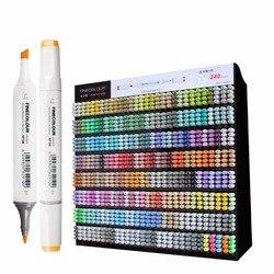 Finecolour 240 colores gráfico marcadores artísticos para dibujar EF100 doble cabeza a base de Alcohol dibujo cepillo pluma pincel
