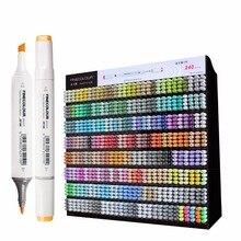 Finecolour rotuladores artísticos gráficos de 240 colores completos, marcadores artísticos para dibujar con base de Alcohol de doble cabeza EF100