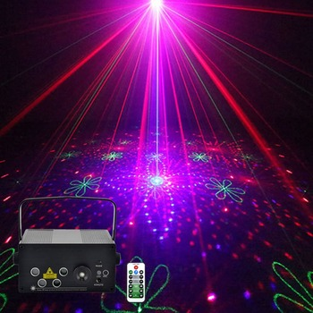 Sharelife Mini 4 Lens 128 RGRB Pattern Laser Light Remote Control Motor Speed DJ Gig Party Home Show Music Stage lighting 128f