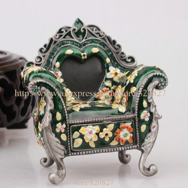 Miniature Chair Jewelry Trinket Box Bejeweled Royal Chair Pill Box