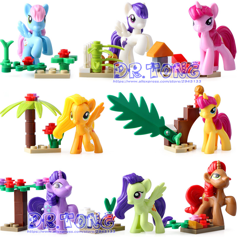 DR.TONG 8PCS/LOT SY682 Super Heroes My Little Horse Anna Elsa Princess Girl Toys Bricks Building Blocks Education TOYS Kids Gift