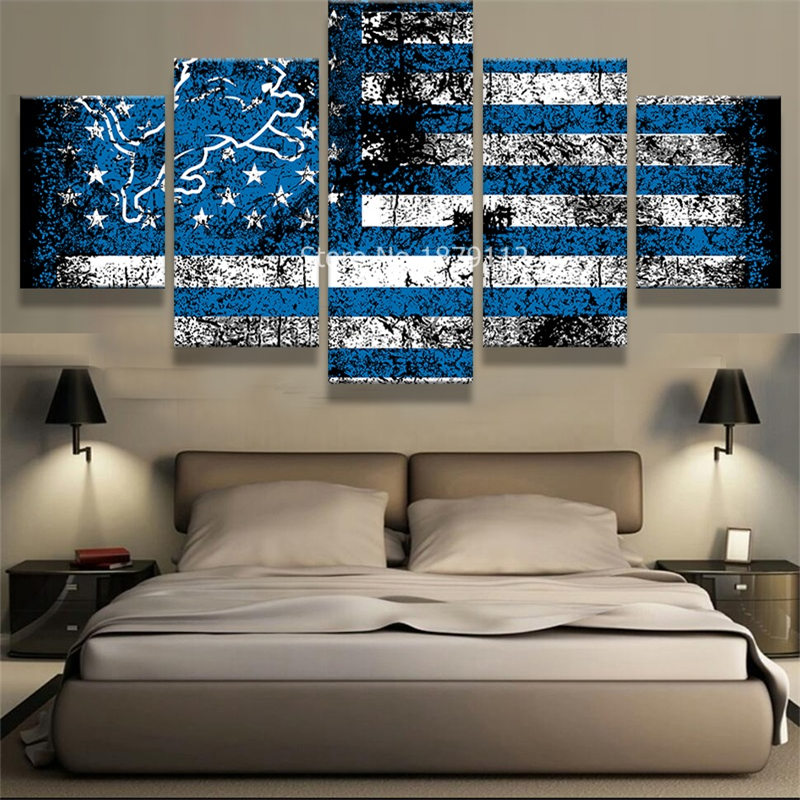 lion and blue flag cool sport poster 5 panels wall art on canvas oil paintings print picture for living room decoration no frame