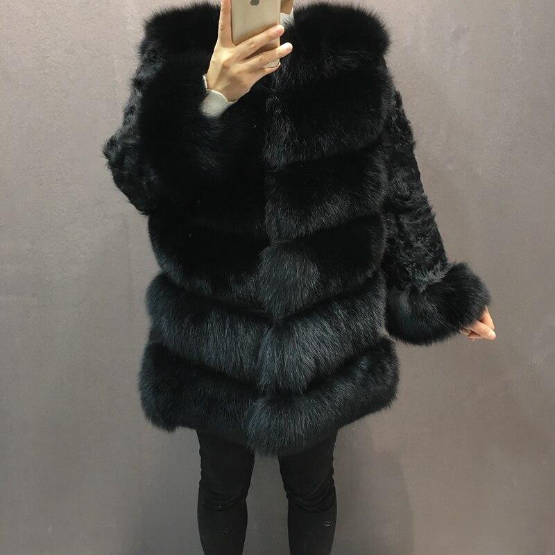 Blanc Fourrure Chaud De Veste 2018 Nouveau Femmes Avec Hiver Manteau Mouton black Épais Long Manchette Naturel Manches Tissu White Renard Moyen Mode ZqTx5x4w