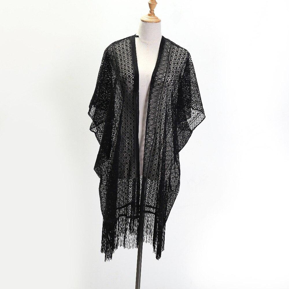 ZSyearth Black Scarf Long Tassel Summer Shawl 2019 New Fashion Pashmina Poncho Thin Smock Capes Hollow Scarves Desigual