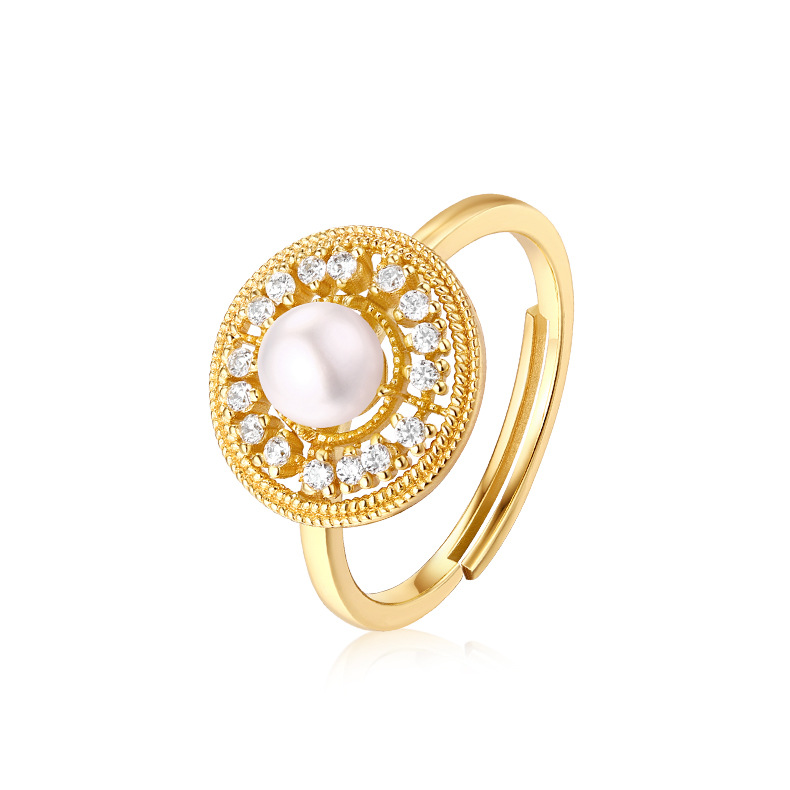US $55 2 54% OFF|Sterling Silver Ring Light Jewelry Design Retro Ring  Female Palace Freshwater Pearl Index Ring S925 Silver Ring Gold Coating-in