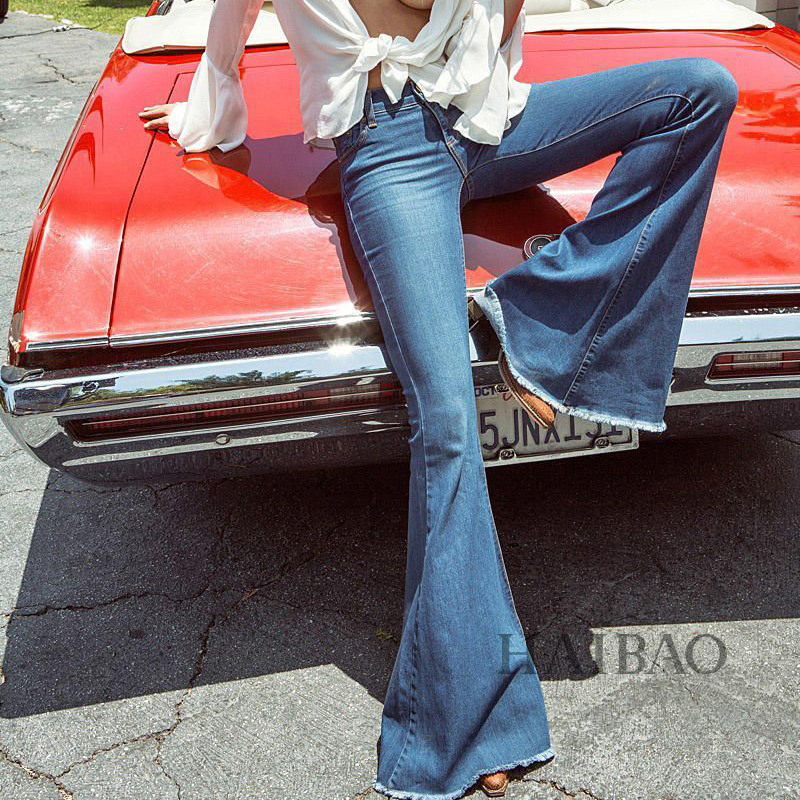 Autumn 2018 Gray Black Low Waist Flare   Jeans   Boyfriend   Jeans   For Women Denim Skinny   Jeans   Woman Female Wide Leg Pants Plus Size
