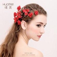 Fashion handmade Red Flower Pearls Hairwear Women Headdress Head Hairbands Crown Jewelry Bride Garland Hair