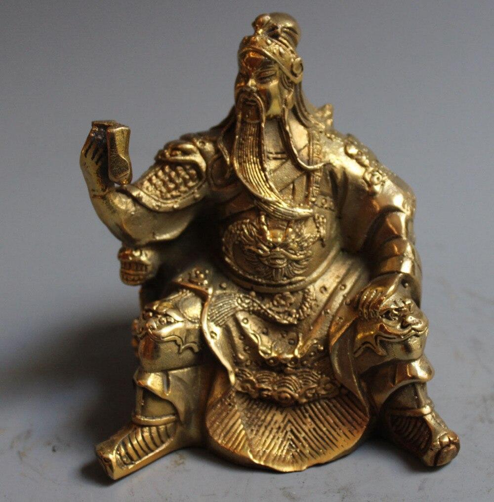 Vieux Dragon en laiton de chine Guangong Guan yu guerrier dieu lire livre Statue SculptureVieux Dragon en laiton de chine Guangong Guan yu guerrier dieu lire livre Statue Sculpture