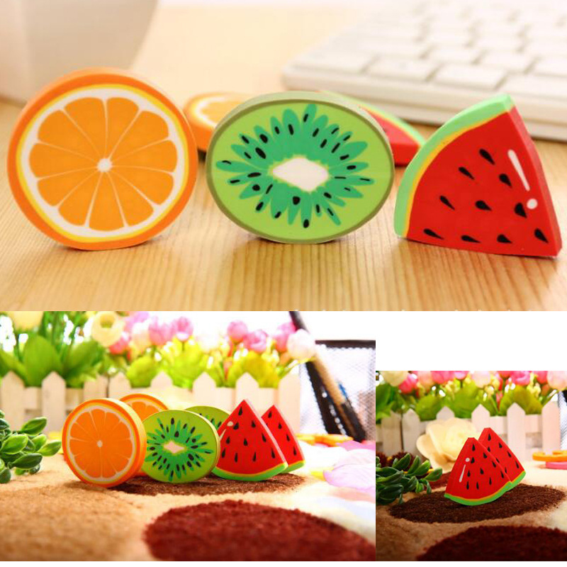 2 unit packcute fresh fruit design eraser erasers kawai watermelon orange kiwi students prize gift office supplies in eraser from office school supplies