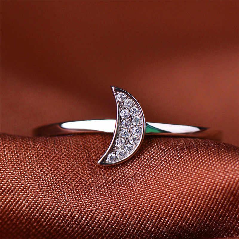 Femenino lindo pequeña luna Zircon anillo para dedo simple Plata de Ley 925 100% auténtica Vintage anillo amor anillos de boda para las mujeres