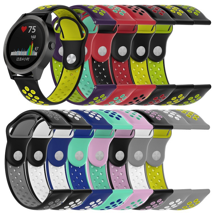 20mm Replacement Sport Silicone Soft Watch band Strap Wristband for Garmin vivoactive3 vivomove HR Smart Watch