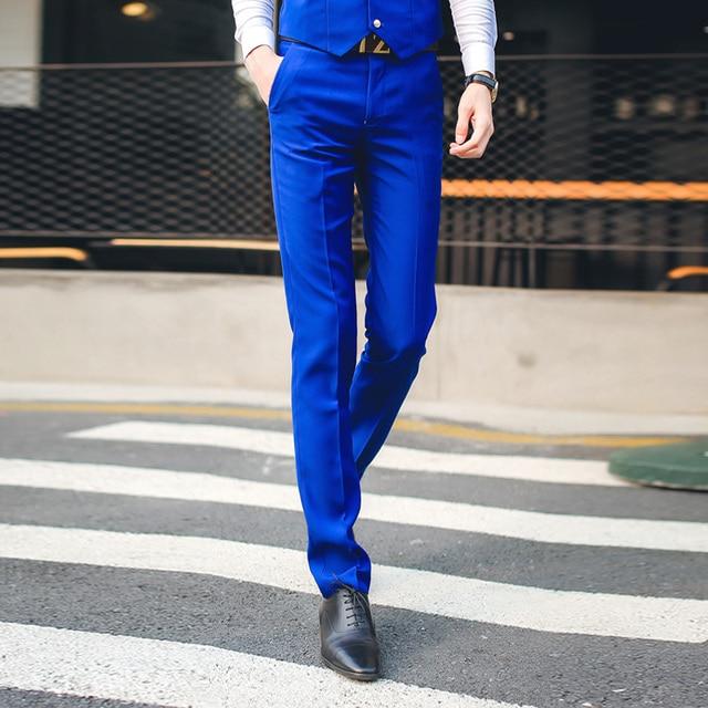 787e6055f08d free shipping British style 2016 men's suit pants Korean men slim fit  business casual pants for men wedding suits royal blue