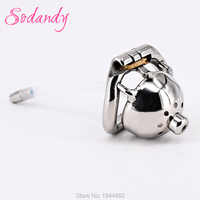 SODANDY 1.3 Super Small Male Chastity Cage Metal Penis Locked In Chastity Belt Device Men Cock Cage Urethral Stretcher Catheter