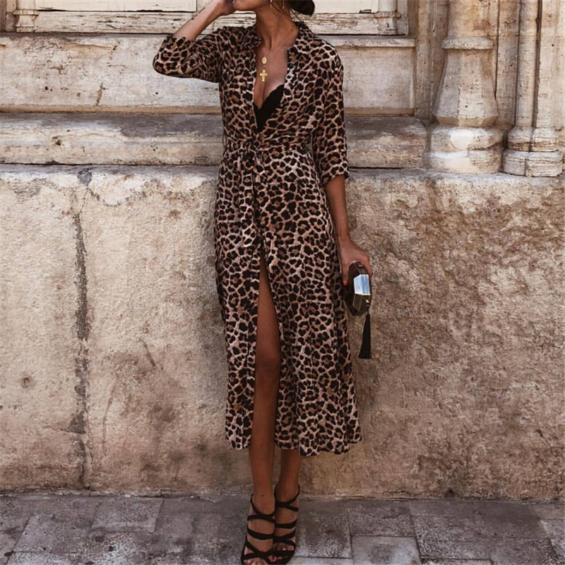 Women Dress Autumn 2019 Ladies Leopard Print Dresses Sexy Women V Neck Long Sleeve Midi Dress Womens Dresses Fall Evening Party 1