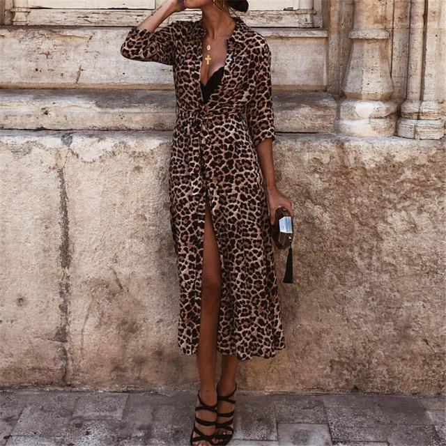 Женское платье осень 2018, женские леопардовые платья с принтом, сексуальные женские платья с v-образным вырезом и длинным рукавом, миди платья для женщин, Осенние вечерние платья