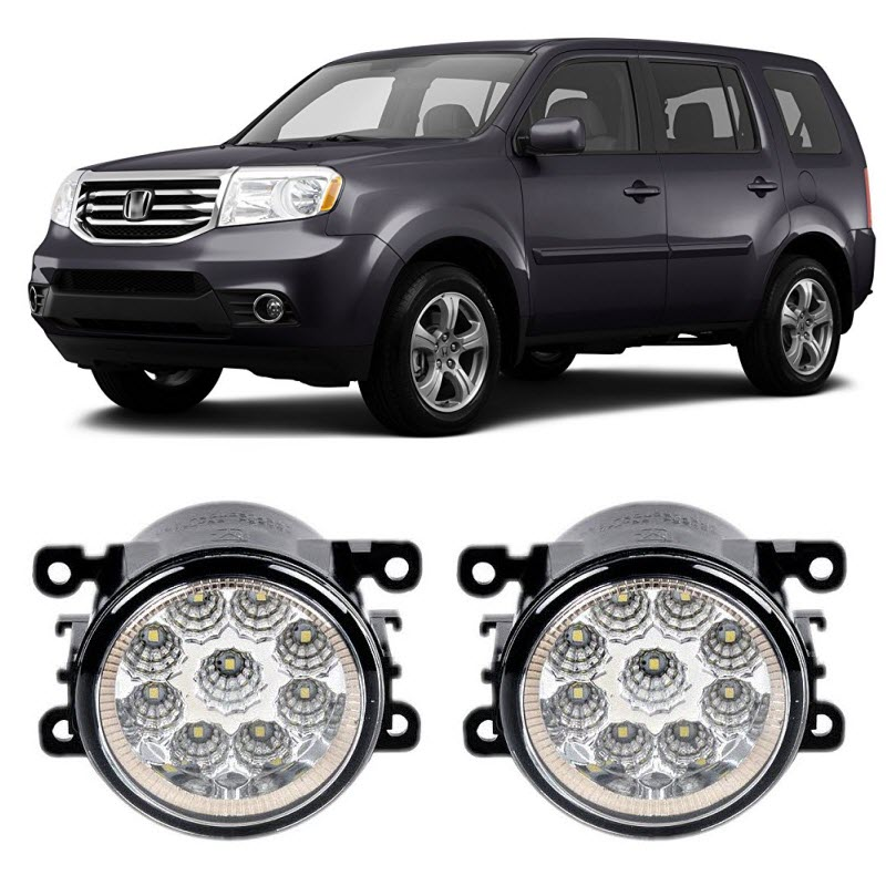 Car Styling DRL For Honda Pilot 2013 2014 2015 9-Pieces Leds Fog Lights H11 H8 12V 55W Replacement LED Fog Lamp car styling for dacia renault sandero 2010 2016 9 pieces leds chips led fog light lamp h11 h8 12v 55w halogen fog lights