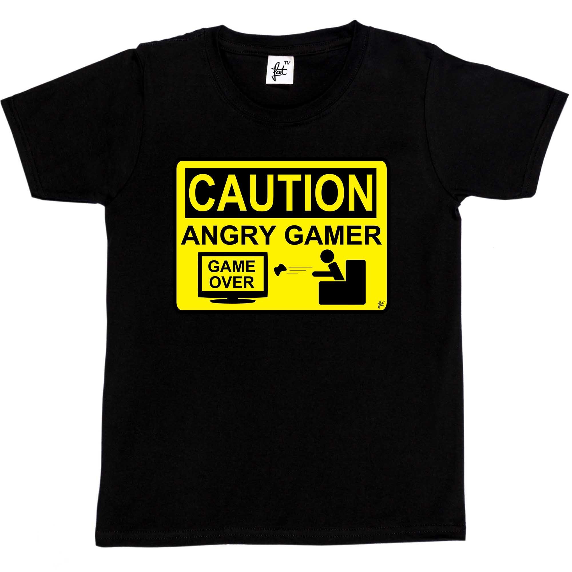 Мужская футболка внимание Angry Birds Gamer-Предупреждение знак Game Over потеряли детей мальчиков футболка