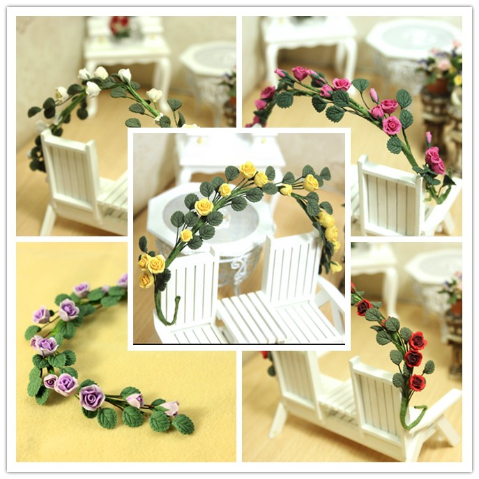 Borong1: 12 Dollhouse Clay Plant Flower Climbing red Rose Wattle Chinese rose bunch Free shipping