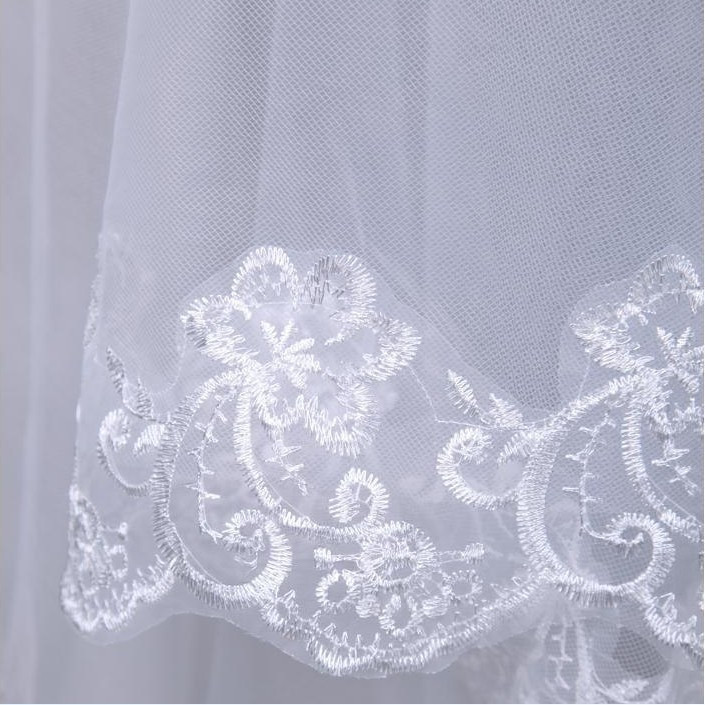 Long Lace Wedding Veil Veu De Noiva Longo Luxury 1 Layer Weddin Accessories Tulle Veil For Bride 2015 Cheap (3)
