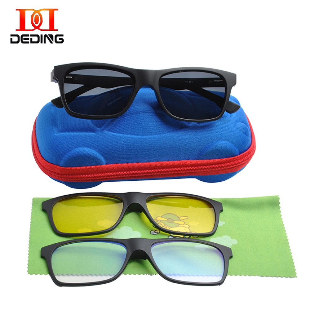 Kids Magnetic 3 clips Polarized Clip on Sunglasses Boys Polarized Sunglasses Kids Blue light Blocking Comuputer Glasses DD1478Boys Sunglasses   -