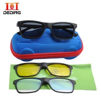Kids Magnetic 3 clips Polarized Clip on Sunglasses Boys Polarized Sunglasses Kids Blue light Blocking Comuputer Glasses DD1478