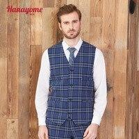 Men;s Morden Fit Suit Waistcoats Navy Blue Checked Sleeveless Business Casual Suit Vests Adjusted Plus Size Tuxedo Blazer Colete