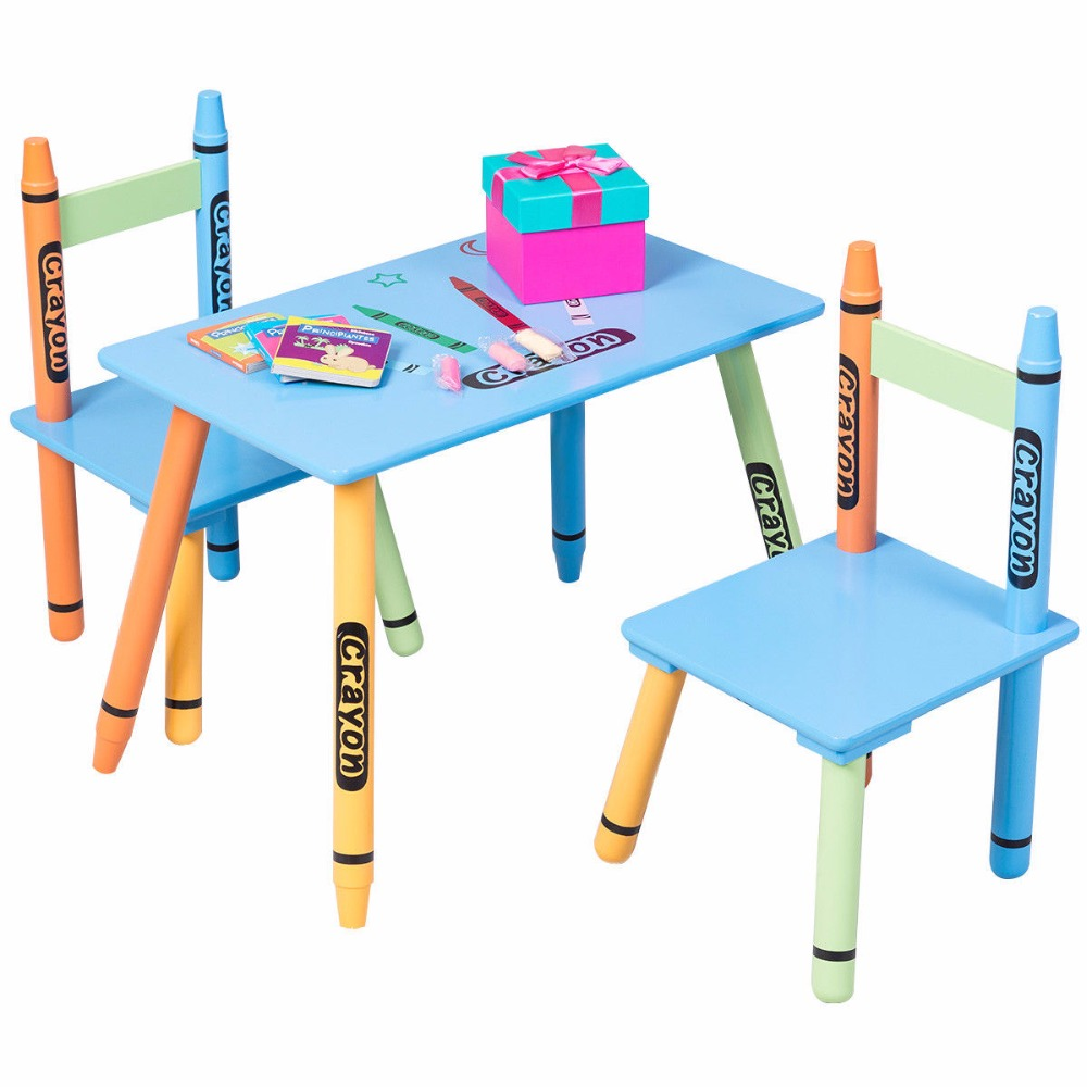 Giantex 3 Piece Crayon Kids Table & Chairs Set Wood Children Activity Playroom Furniture Colorful Kids Learning Tables HW56663