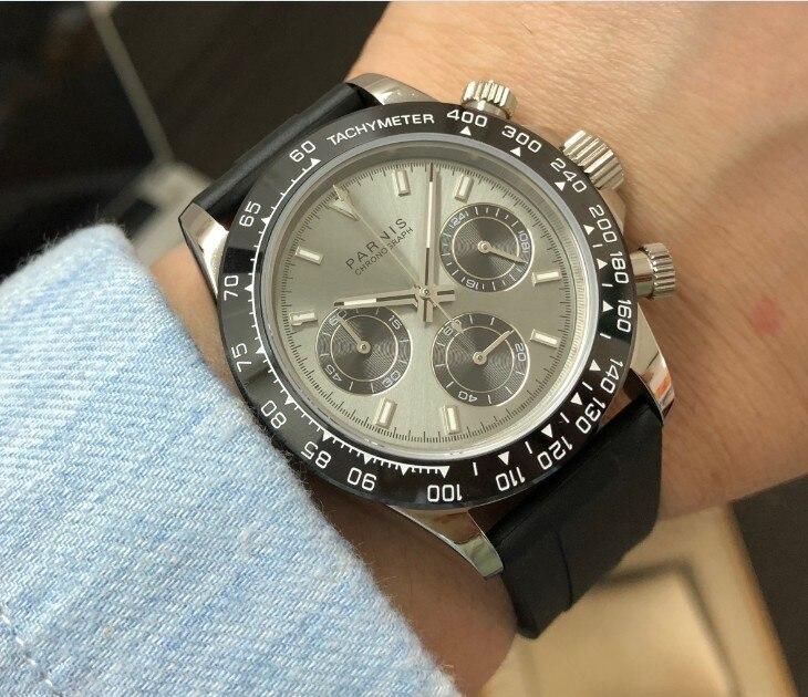 Saatler'ten Kuvars Saatler'de Safir Kristal 39mm PARNIS Japon kuvars hareketi erkek saati Çok fonksiyonlu Gri dial seramik bezel kuvars saatler p102 8'da  Grup 1