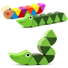 New Wooden Baby Toy Transformable Caterpillar  Warm Colorful Early Educational DIY Toy Intelligence Develope MU679196