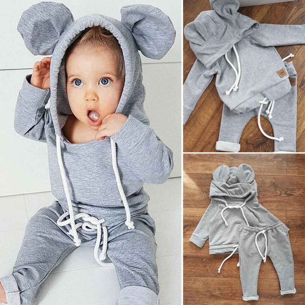 Toddler Kids Boys Girls Baby Clothing Set Cartoon Bear's Ear Hooded Tops Pants Outfits Sets Newborn Baby Clothes MuqGew Roupa