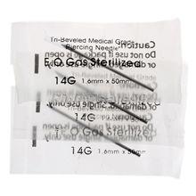 100 Unids Agujas de Plata de Acero Inoxidable 14G 1.6mm Agujero Estéril Piercing Joyería de La Nariz Del Oído Del Ombligo Del Vientre Body Piercing agujas Joyería