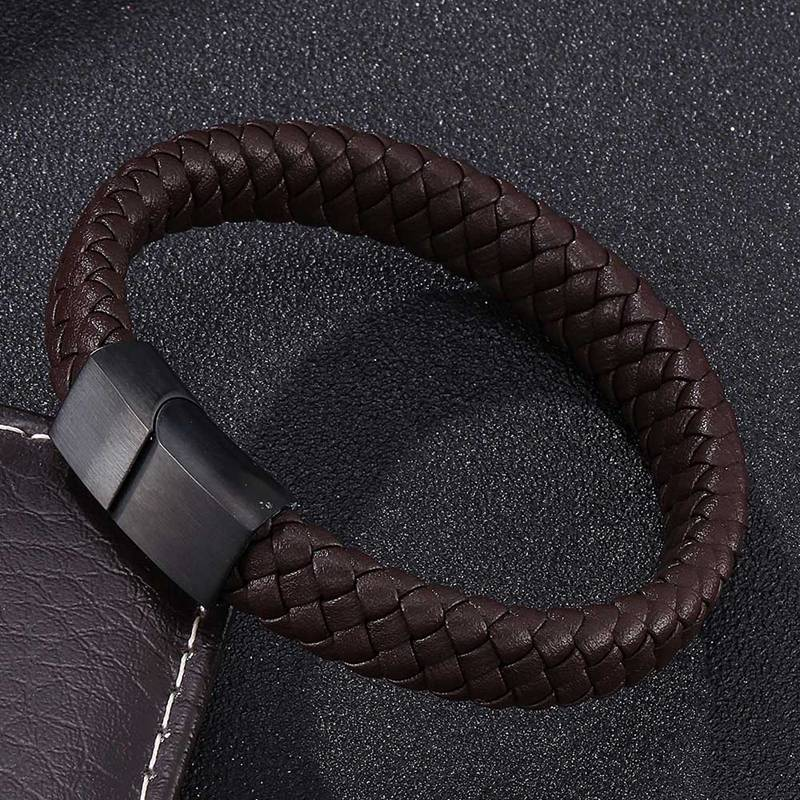 Hand-Made Black and Brown Leather Bangle Bracelet for Men for Women with Steel Magnetic Clasp