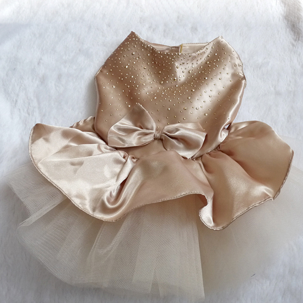 Hund kjole valp bryllup fest blonde kjole bue tutu prinsesse kjole tøj til hund