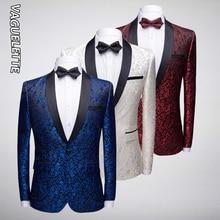 VAGUELETTE Shawl Collar Floral Blazer Men Embroidery Pattern Blazer Coat For Singers Stage Wear White/Blue/Red Jacket Men M-4XL