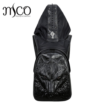 2018 Fashion Personality Wolf Embossing knife leather backpack rivets backpack with Hood cap apparel bag cross bags hiphop man
