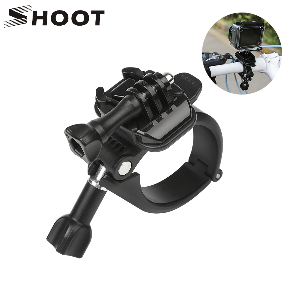 SHOOT 360 Rotary Clamp Handlebar Pole Tube Mount for GoPro Hero 7 6 5 4 Xiaomi Yi 4K Eken Sjcam Action Cam for Go Pro Accessory shoot jaws flex clamp mount for gopro hero 7 6 5 xiaomi yi 4k sjcam eken h9r with bucket tripod holder for go pro hero accessory