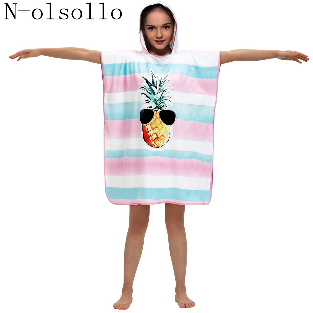 N-olsollo 2019 New Fashion Microfiber 3d Stripe Pineapple Printed Kids Beach Towels With Cap Bathrobes For Girls Boys Perfect In Workmanship Apparel Accessories