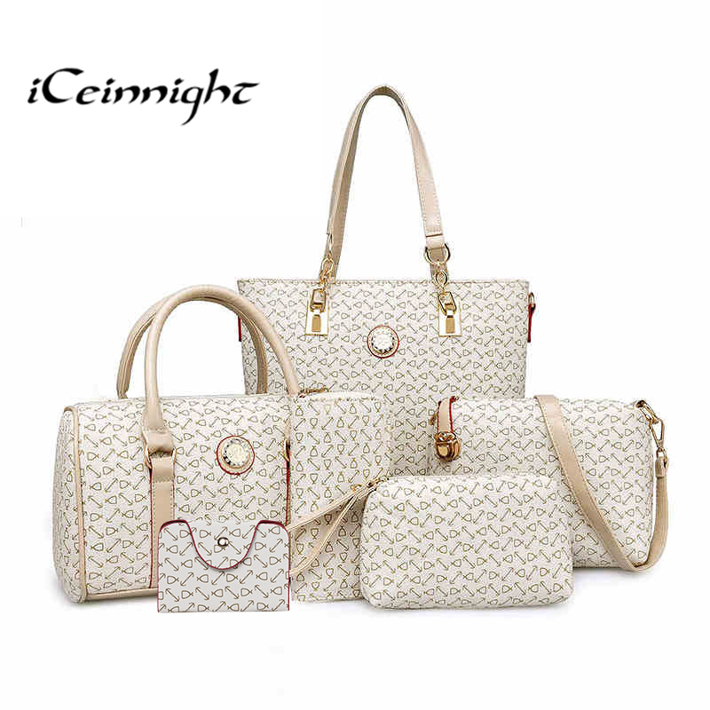 Buy one get six Composite bag Big Women leather handbags High quality PU messenger shoulder boston