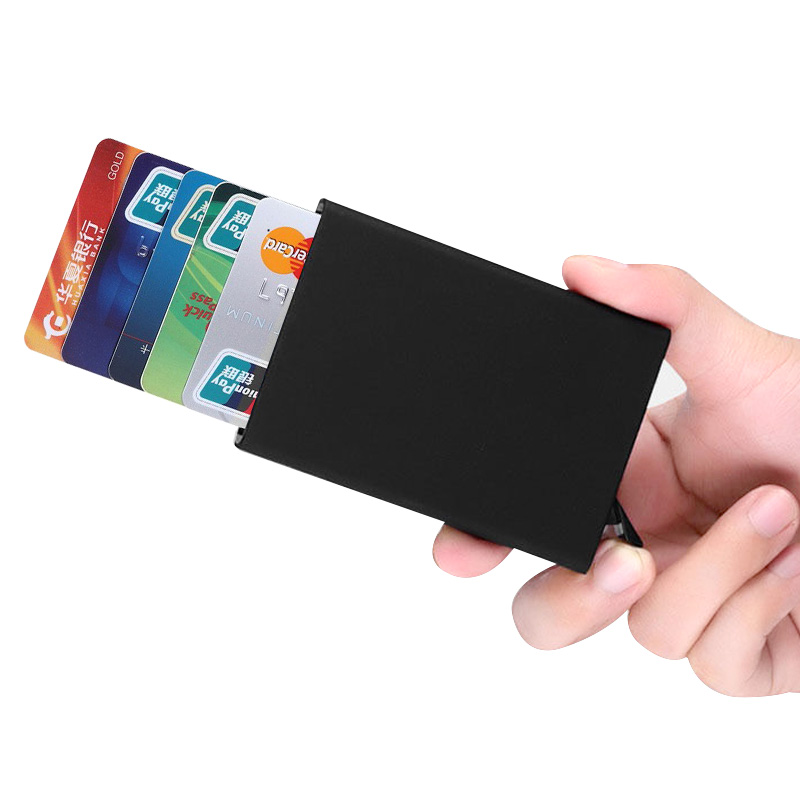 Metal Business ID Credit Card Holder Thin Wallets Pocket Case Bank Credit Card Package Case Card Box New Top Brand porte carte business card holder women vogue thumb slide out stainless steel pocket id credit card holder case men