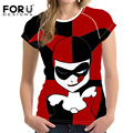 FORUDESIGNS Cartoon Harley Quinn Women Summer T-shirts Crop Tops Japanese Style Basic T-shirt Foe Girls T Shirt Woman Rock Ropa