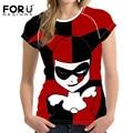 FORUDESIGNS Cartoon Harley Quinn Women Summer T-shirts Crop Tops Japanese Style Basic T-shirt Foe Girls T Shirt Woman Rock Ropa