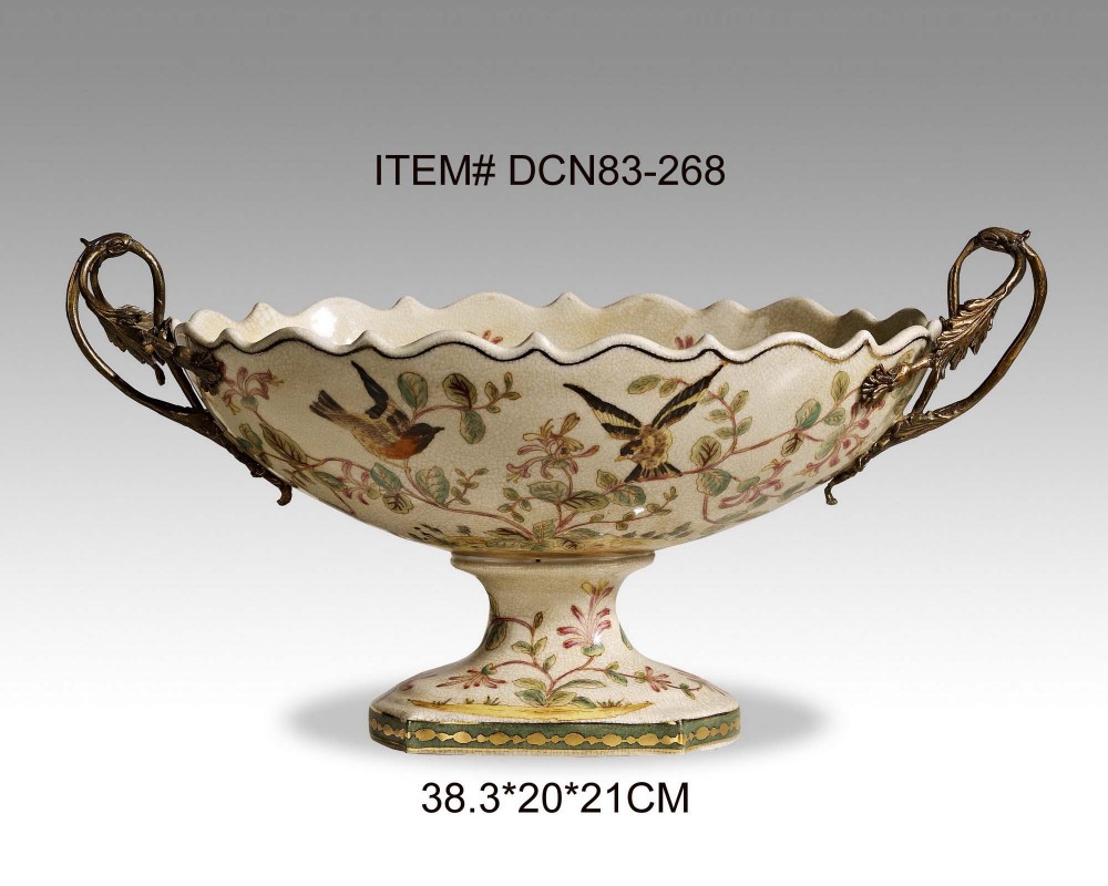 Ceramic and Brass Crack Pattern Decorative Eared Fruit Bowl European Style Porcelain Compote Antique Art Ornament-in Bowls u0026 Plates from Home u0026 Garden on ...  sc 1 st  AliExpress & Ceramic and Brass Crack Pattern Decorative Eared Fruit Bowl European ...