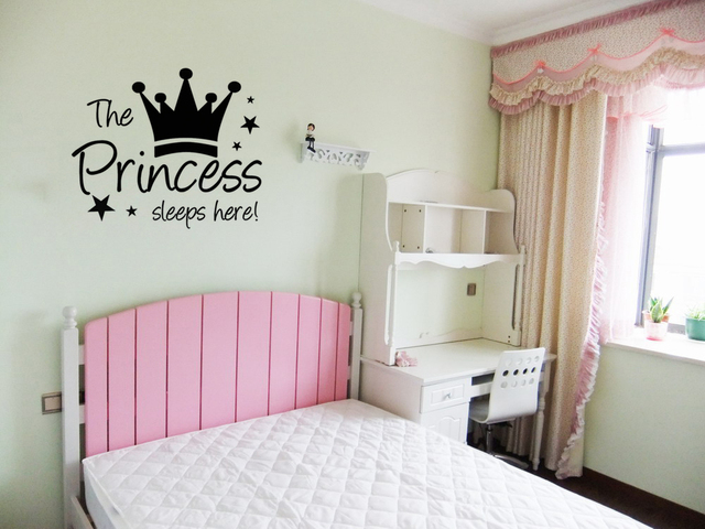High Quality The Princess Wall Sticker Sleeps Here Wall Art Decals Living Room Decorative  Stickers Wallpaper Quote Part 30