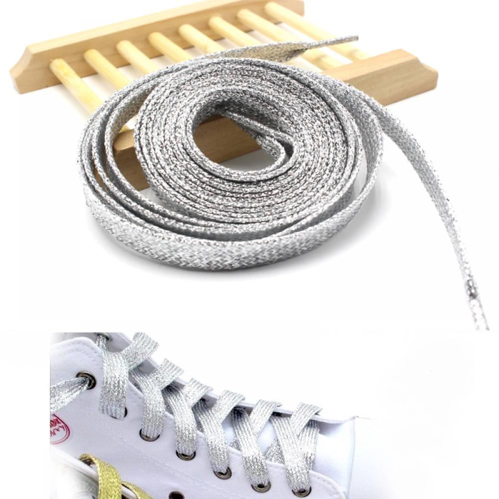 Us 0 57 9 Off Glitter Silver Man Women Shoelaces Of Sneakers Metallic Shiny Gold Shoelace Silver Flat Shoe Laces Sports Running Shoe Lacing In