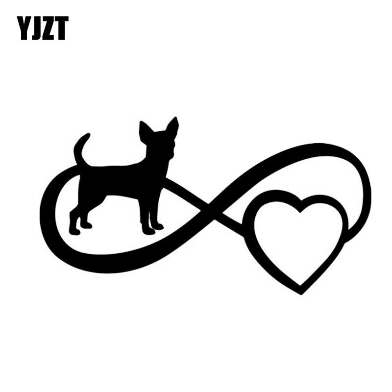 YJZT 12.7 CM * 6.8 CM Protection de l'amour chien créatif vinyle voiture autocollant autocollants noir/argent C10-00199