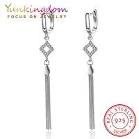 Yunkingdom 100 925 Sterling Silver Earrings For Women Jewelry Long Sliver Chain Tassel Earring Vintage Earrings