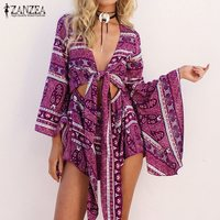 2017 Spring ZANZEA Rompers Womens Jumpsuit Sexy Deep V Neck Long Sleeve Ruffled Vintage Print Bodysuit