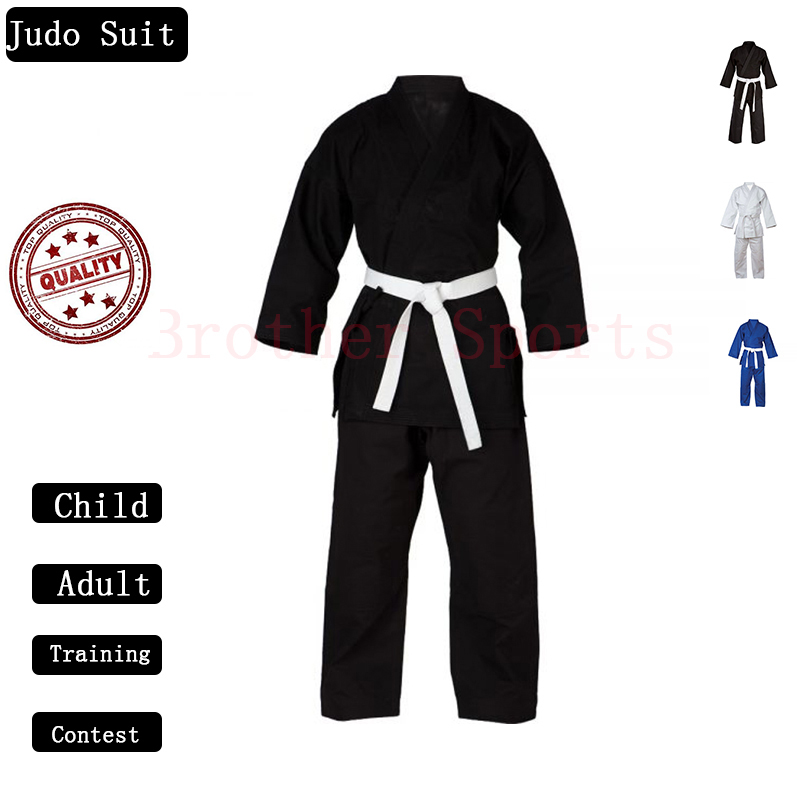 Judo Kimono Gi Uniforms Man Woman Child Color White /& Blue With Belt 100/% Cotton