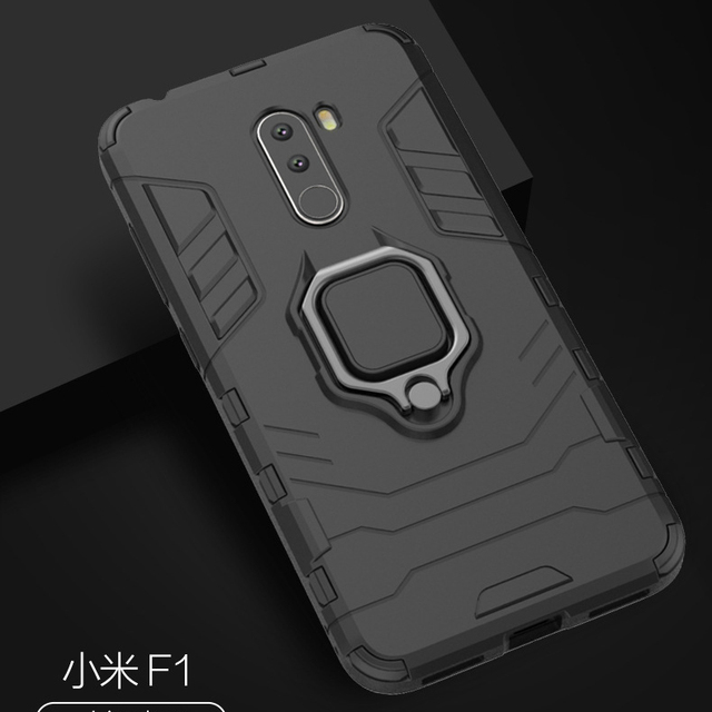 reputable site 85eb4 56bb1 US $2.81 6% OFF|With stand Ring Hybrid case For Xiaomi Pocophone F1 Hard  Silicone + PC Armor protect back cover for Xiaomi Pocophone F1 Poco F1-in  ...